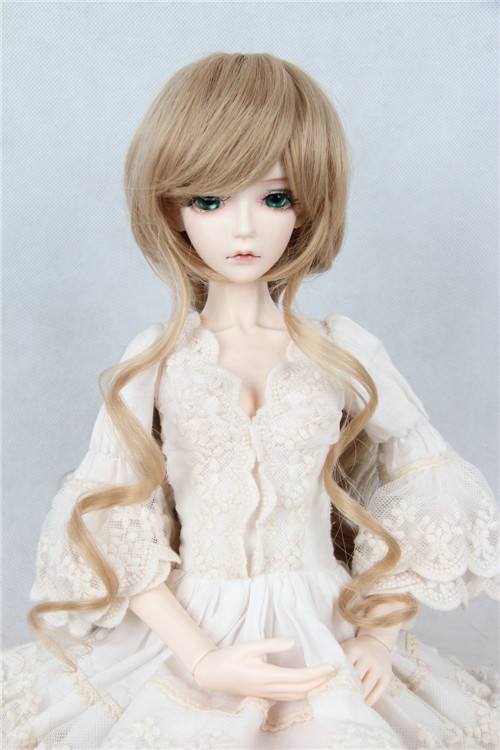 New 1/3 22-24cm 1/4 18-18.5cm Neat bang goddess Long hair Dark red /Dark Blonde BJD SD MSD Doll wig