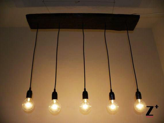 Lights Diy Hand Made Vintage 5 Edison Bulbs Chandelier Lamp Suspension Coffee Bar Wood Gl