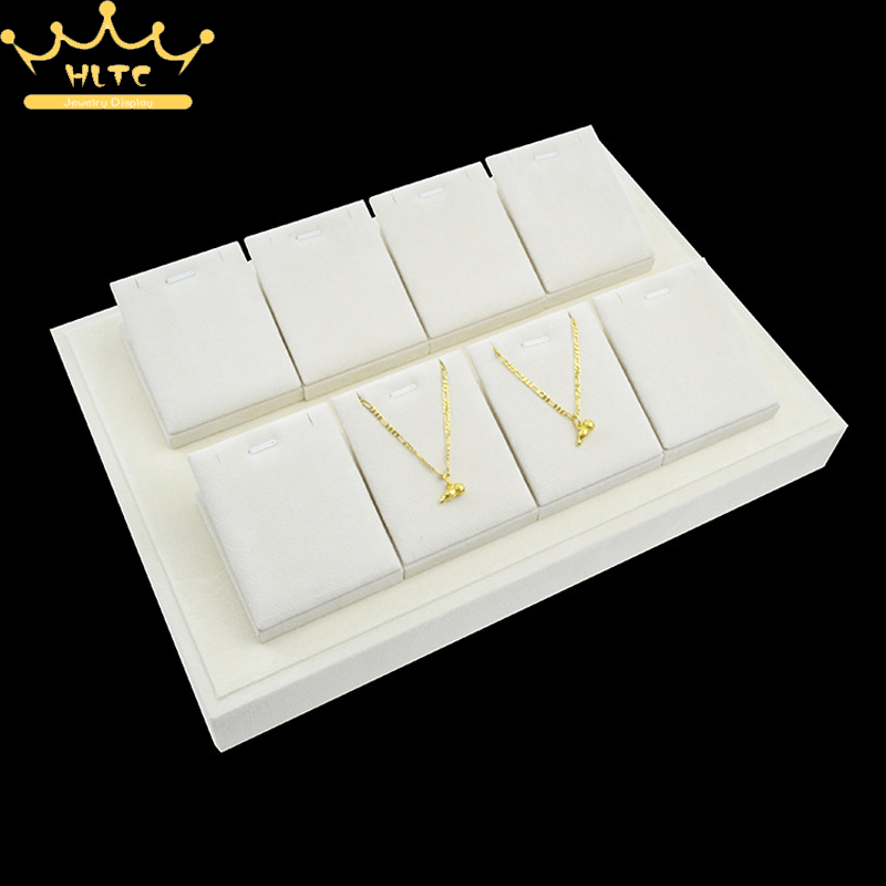 Jewelry Display Pendant Stents Necklace Holder Stand Beige Velvet Showcase Holder Organize Cases Pendants Tray