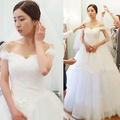Livre obter véu + novo estilo de coréia chegada bh905 sweet barco pescoço vestido de casamento da princesa
