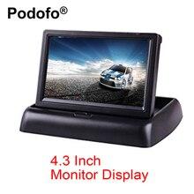 Podofo 4.3 дюймов TFT ЖК-дисплей автомобиля Мониторы складной Мониторы Дисплей обратный Камера парковка Системы для заднего вида автомобиля Мониторы S NTSC PAL