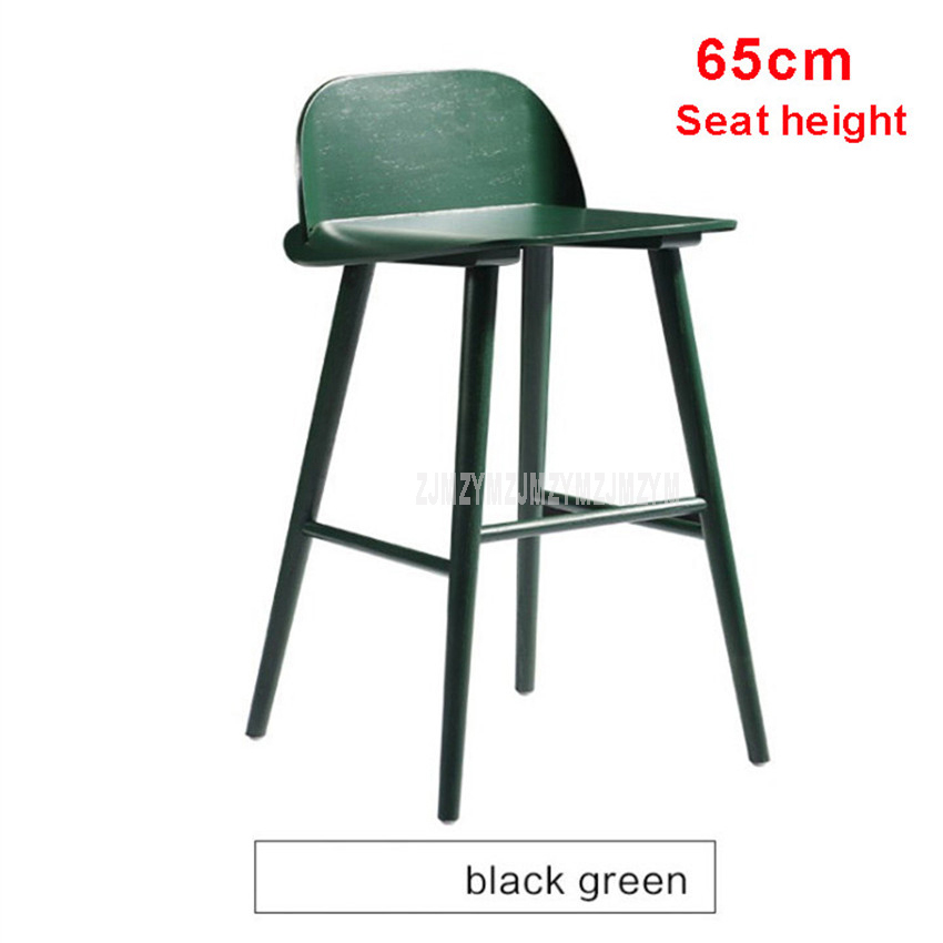 Awesome Simple European Style Modern Bar Chair With 4 Legs 60Cm 65Cm 75Cm Height Iron Solid Wood High Footstool Barstool With Backrest Bralicious Painted Fabric Chair Ideas Braliciousco