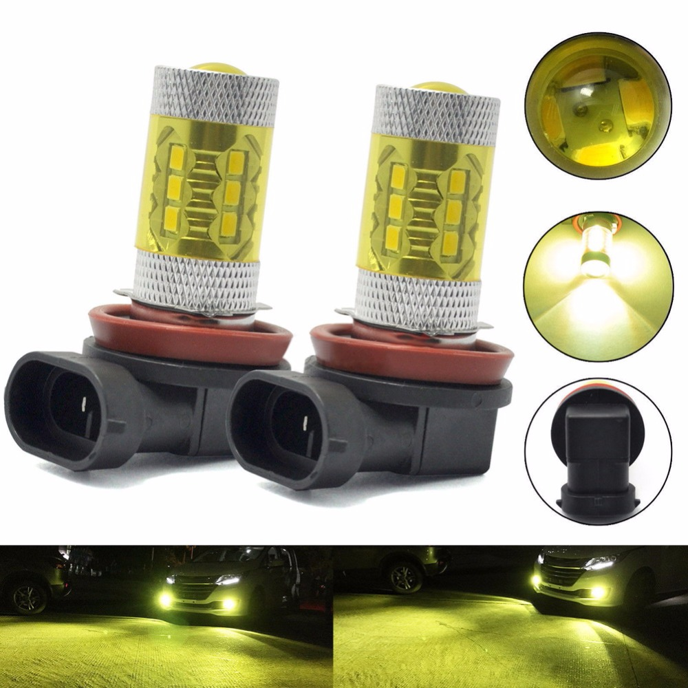 2Pcs H11 LED Car styling Fog Light Daytime Driving Bulb Gold Yellow 2363 Automotive Light emitting