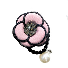 Chic camellia hair ties crystal flower ring/rope pearl pendant elastic band rubber women fashion accessories