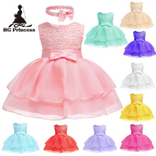 Free Shipping Cotton Newborns Oganza Infant Dresses 2019 New Arrival Peach Baby Dress For 1 Year Girl Birthday Christening Gowns