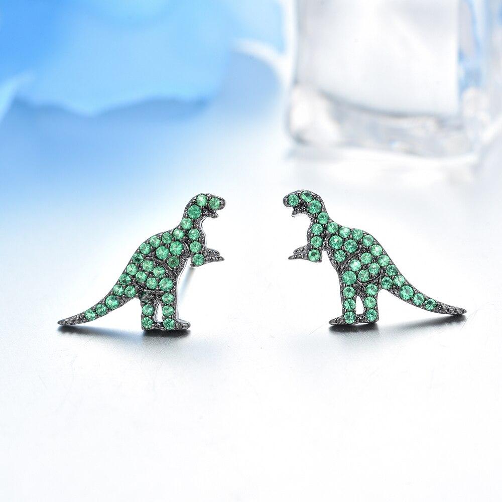 Green Cubic Zircon Dinosaur Stud Earrings