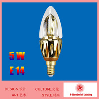 High Gloss Surface Gold Technology 5w E14 Led Candle Bulbs Lighting 220v Candle Bulb Single Lamp