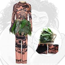 New 2018 Princess Moana Cosplay Costume For Adult Maui Men Women Party Halloween Costumes