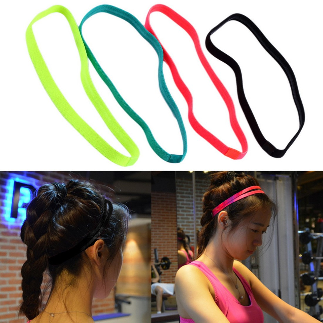 Women Men Yoga Hair Bands Sports Headband Sport Anti-slip Elastic Rubber Sweatband Football Yoga Running Band Yoga Accessories