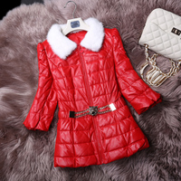 Winter New Fashion Women S Leather Down Coat Leather Coat Sheepskin Leather Clothing Female Slim Free
