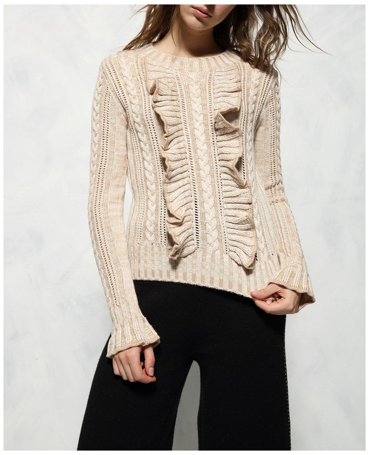 Autumn Wool Sweater Women Winter Beige Jumper Flounce Knitted Top Designer  Pullover Knitwear IG Basic Tee French Effortless Chic cdf4579211
