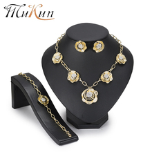 MuKun African Beads Jewelry Set Gold Color Flower White Imitated Crystal Jewelry set Women Wedding Necklace Bracelet Earring Set 2017 white crystal flower necklaces bracelet earrings set nigerian accessories wedding bead african costume free shippingabh016