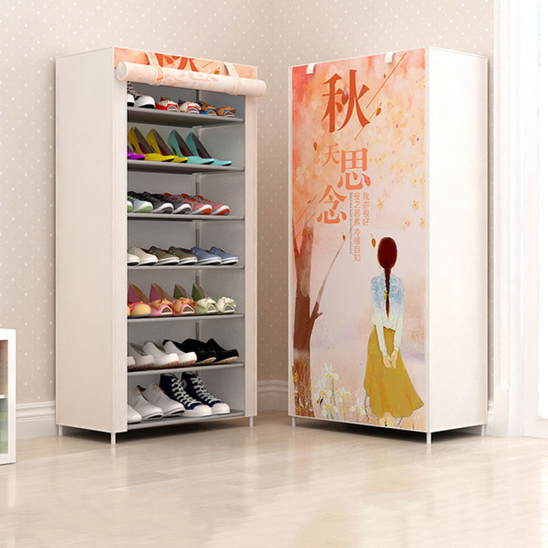 Cartoon Pattern Simple Shoe Rack Multi-layer Steel Pipe Assembly Dustproof Household Shoe Cabinet Student Dormitory Shoe Rack