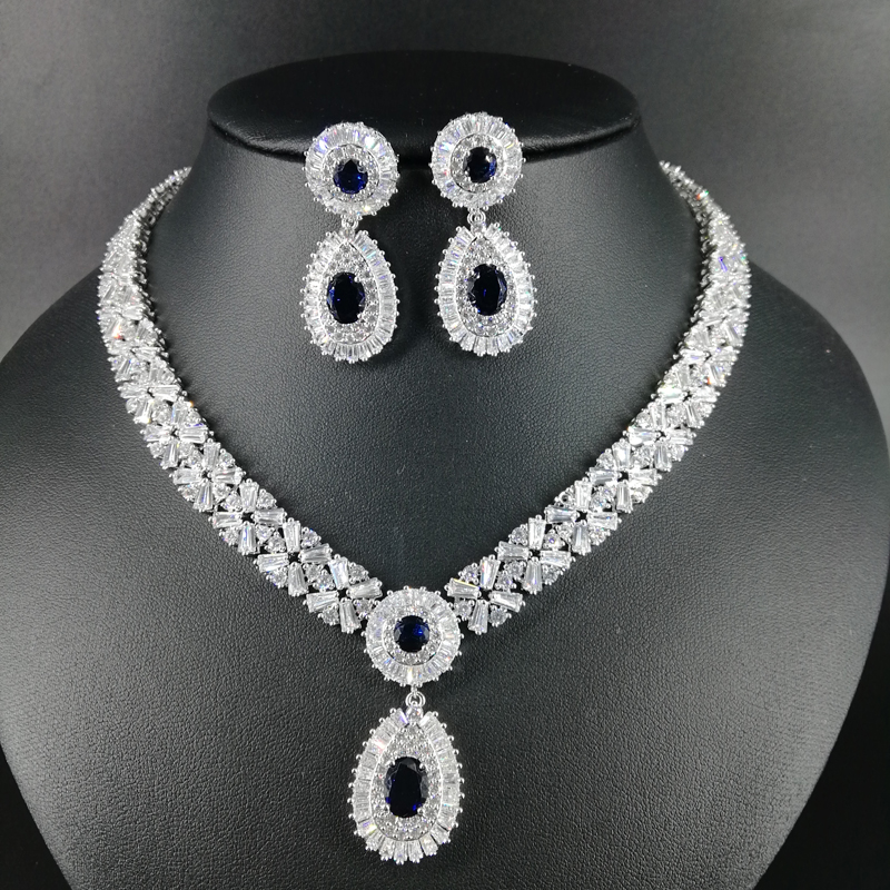 NEW FASHION Retro palace water drop blue zircon necklace font b earring b font wedding bride