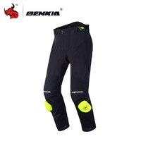 BENKIA Men Motorcycle Racing Pants Spring Summer Mesh Breathable Black Windproof Riding Sports Pants Knee Protective Guards