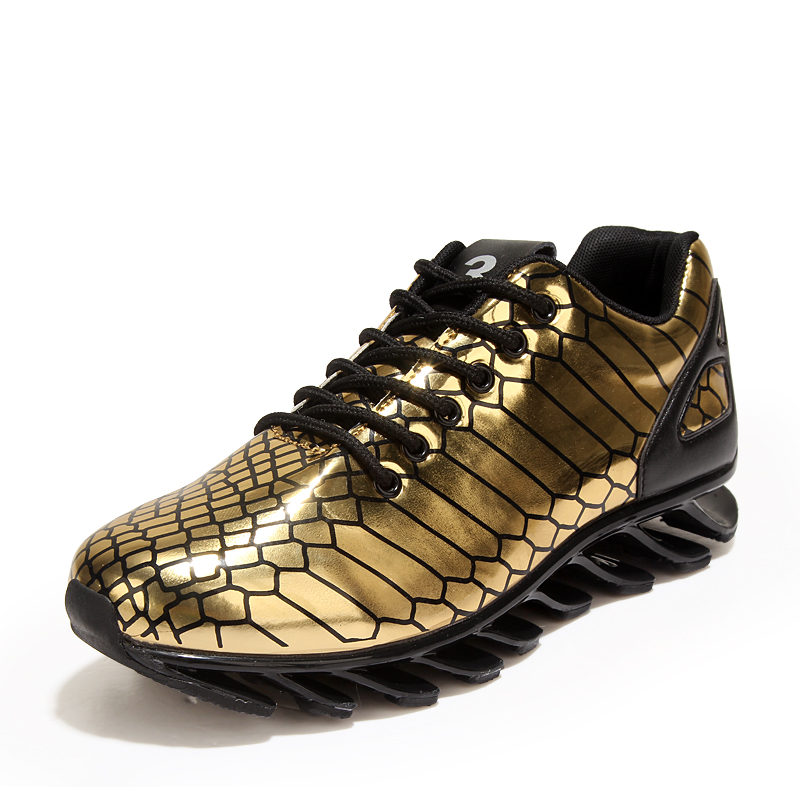 cfa2f7689e1d Men s running shoes blade design sole sport shoes lace up breathable golden men  sneakers size 39 44 b22s-in Running Shoes from Sports   Entertainment on ...