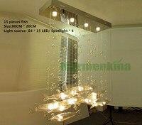 Крючок гостиной горит Ресторан светодиодный пузыри летучей рыбы освещение отель Творческий кристалла подвесной светильник.