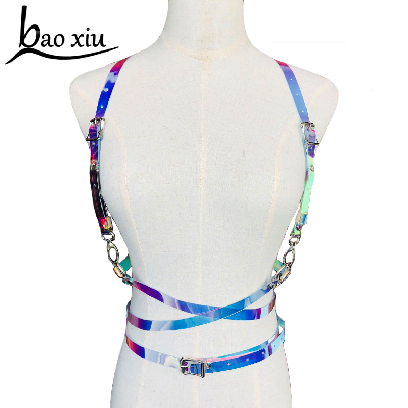 Fashion Punk Harajuku O-ring Body Garters color PVC leather Bondage Cage Sculpting Harness Waist   Belt   Straps Suspenders   Belt