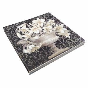 Image 5 - 20 빈티지 테이블 냅킨 종이 decoupage 결혼식 크리스마스 생일 파티 꽃 흰색 balck serviettes 장식 조직