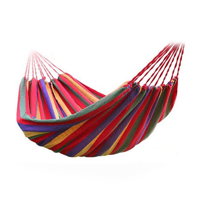 Portable Hammock Outdoor Hammock Garden Sports Home Travel Camping Swing Canvas Stripe Hang Bed Hammock Red, Blue 190 x 80cm 1