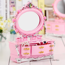 Fashion Hand cranked dresser Music box with mirror Women Dressing jewelry box Music Box For sale Home Decor plastic Craft Gift