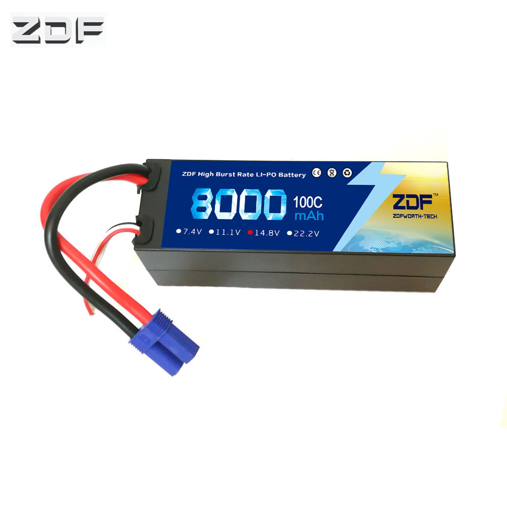 ZDF 4S 14.8V 8000mah 100C max 200C Hard Case lipo battery with EC5 XT60 XT90 plug for RC car Airplane Truck image