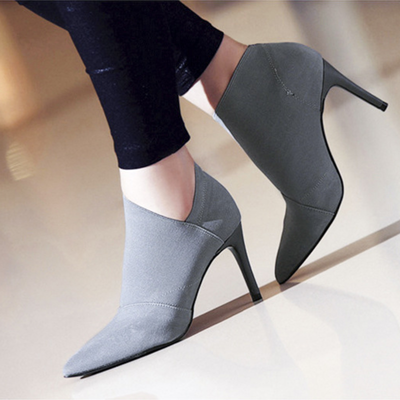 De Zapatos Alto H 162 Del Puntiagudo Invierno Tobillo Tacón Caliente Básica Pie Dedo Moda negro Otoño Mujer Grey Botas Casual R5xqwxdf
