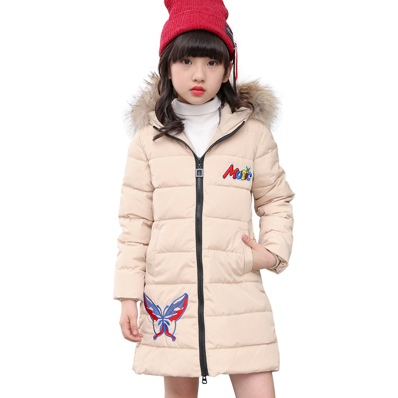Jacket Girl Casual Children Winter Coat Duck Long Section Down Thick Fur Hooded Kids Winter Jacket For Girls Outerwear 2016 winter jacket girls down coat child down jackets girl duck down long flower hooded loose coats children outwear overcaot