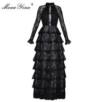 MoaaYina Fashion Designer Runway Maxi Cake Dress Butterfly sleeve Turtleneck Lace Perspective Pleated Party Noble Elegant Dress