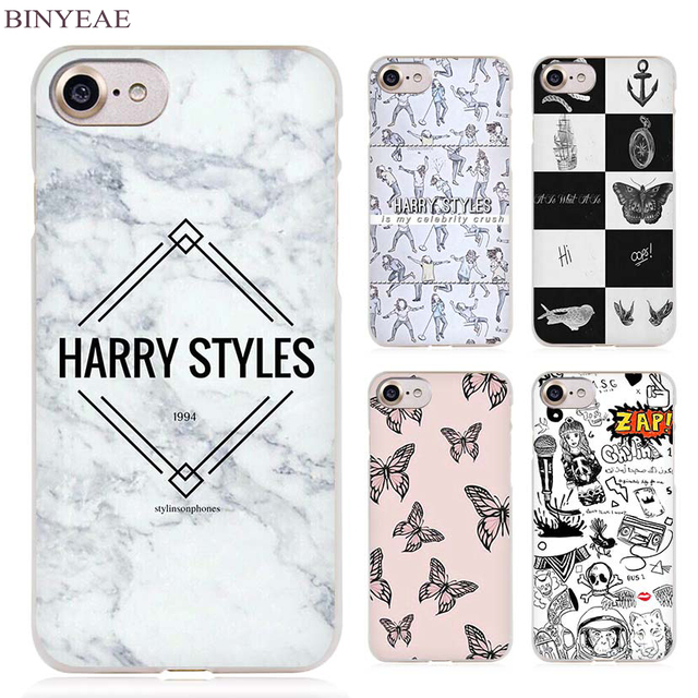 למעלה BINYEAE Harry One Direction Tattoos Clear Cell Phone Case Cover YJ-98