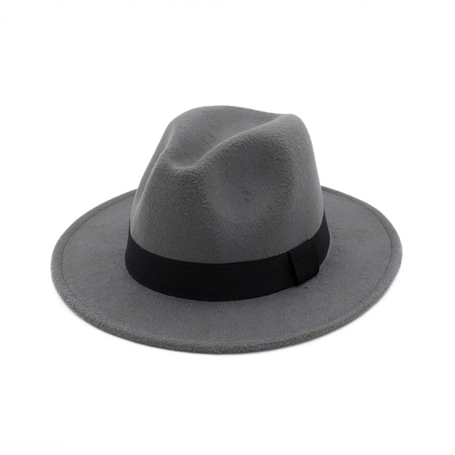 e8291de2f004f Fedoras Hats for Women Men Felt Trilby Hats Wide Brim Adjustable Fedora  Jazz Hat Caps Ladies chapeu Feminino Femme MNDJS004