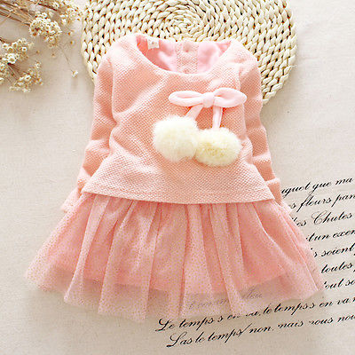 2016 Newborn Baby Girls Dress Clothes Full Long Sleeve Knit Sweater Tops Lace Bowknot Dresses Clothing 0-24M stylish dress book simple smocks dresses and tops