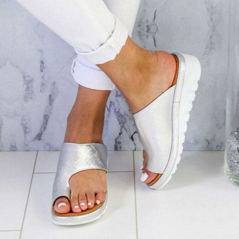 HTB1jhZ2cG5s3KVjSZFNq6AD3FXau Women PU Leather Sandals Flip Flops Woman Shoes Platform Flat Sole Casual Orthopedic Bunion Corrector Ladies Foot Correction