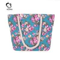 KUJING Women Handbags High Quality Canvas Large Capacity Women Shopping Bag Student Cloth Travel Beach Bag