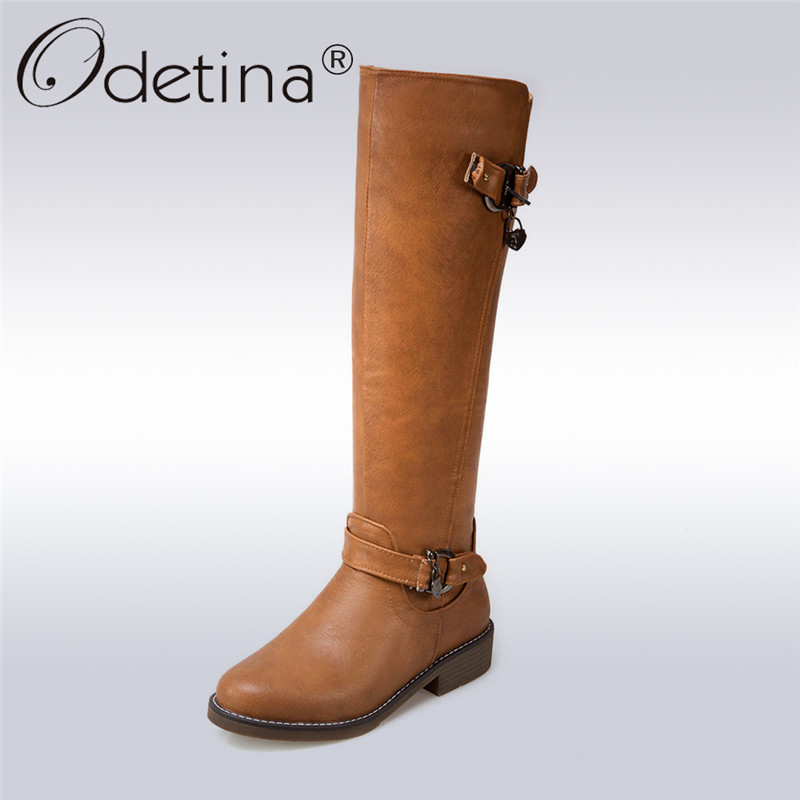 Odetina 2017 New Fashion Knee High Riding Boots Wide Calf Zipper Buckle Round Toe Low Heel Winter Tall Boots Shoes Big Size 44 enmayer green vintage knight boots for women new big size round toe flock knee high boots square heel fashion winter motorcycle