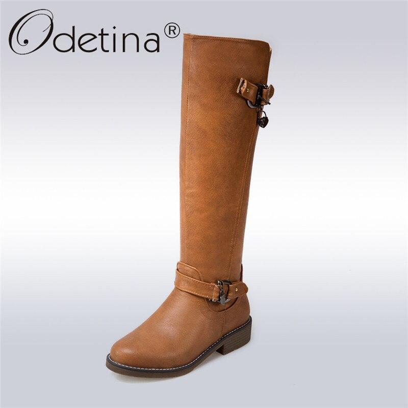 Odetina 2017 New Fashion Knee High Riding Boots Wide Calf Zipper Buckle Round Toe Low Heel Winter Tall Boots Shoes Big Size 44 manitobah унты tall gatherer mukluk мужские черный
