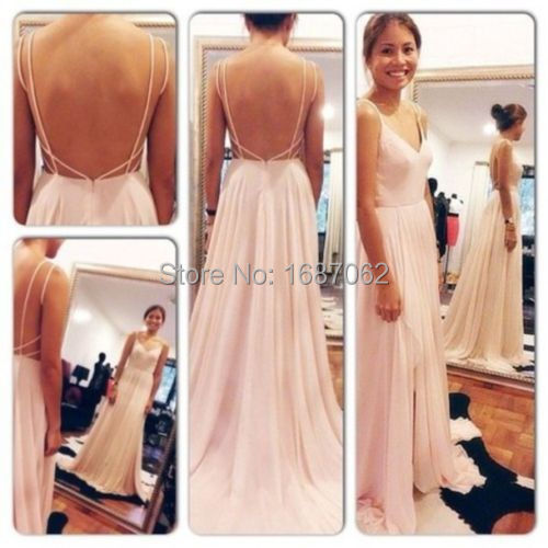 Elegant Evening Dresses Pale Pink Chiffon Sweep Train Spaghetti Strap D Beach Formal Long Prom Gowns Robe De Soiree In From