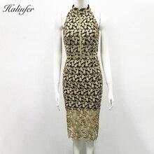 Halinfer 2019 new summer  women dress sexy bodycon Tirtleneck Patchwork bandage elegant celebrity party dresses vestidos
