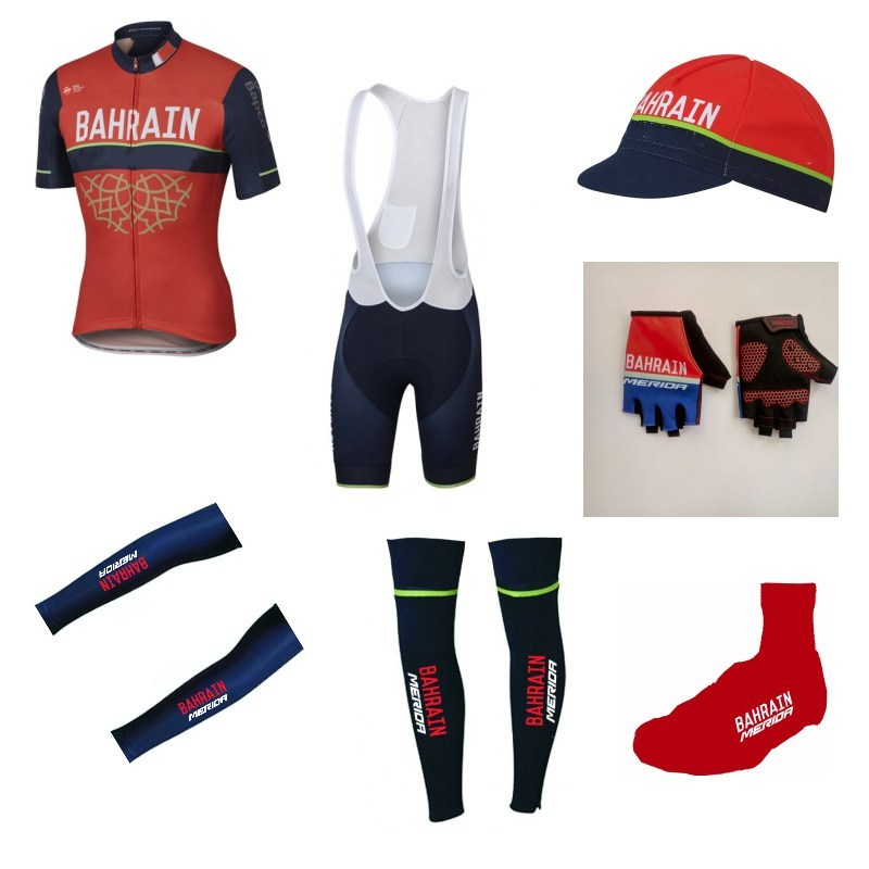 7pcs full set Team bahrain merida 2017 cycling jersey summer Short sleeve bike clothing MTB Ropa Ciclismo Bicycle maillot asgharali lulutal bahrain