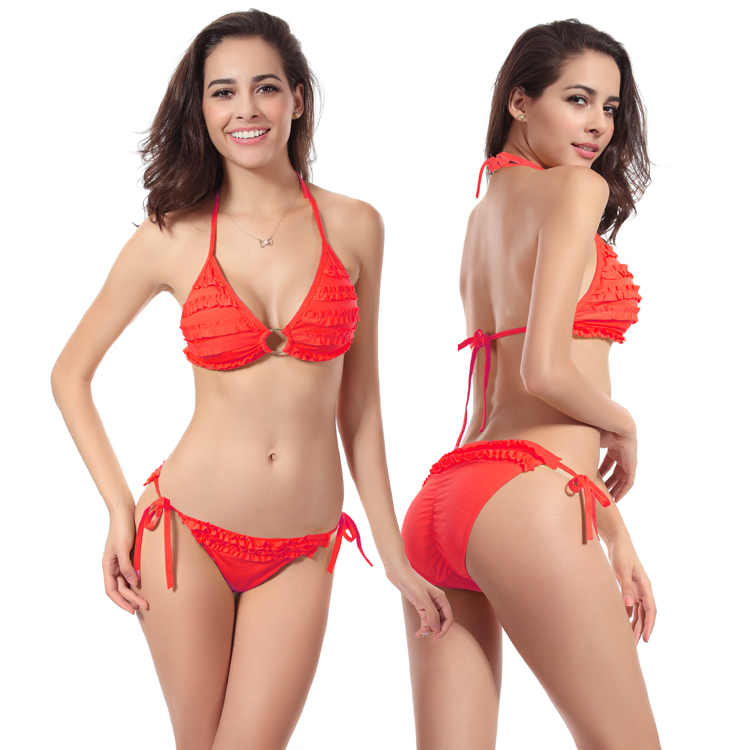 b75f5cd607a Cheap 2016 Hot Sale Sexy Women Ruffle Swimwear Padded Swimsuit Lady Bathing  Suit Bikini Set Free Shipping Good Quality-in Bikinis Set from Sports ...