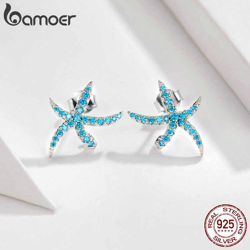 Bamoer Laut Biru Bintang Laut Perhiasan Kalung Anting-Anting Set Otentik 925 Sterling Silver AAA Zirkonia Batu Perhiasan ZHS118