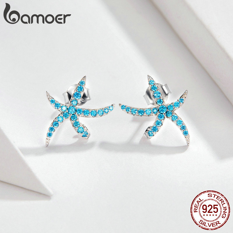 Image 2 - bamoer Ocean Blue Starfish Necklace Earrings Jewelry Sets 