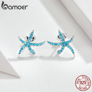 Image 2 - bamoer Ocean Blue Starfish Necklace Earrings Jewelry Sets Authentic 925 Sterling Silver AAA Zirconia Stone Jewelry ZHS118