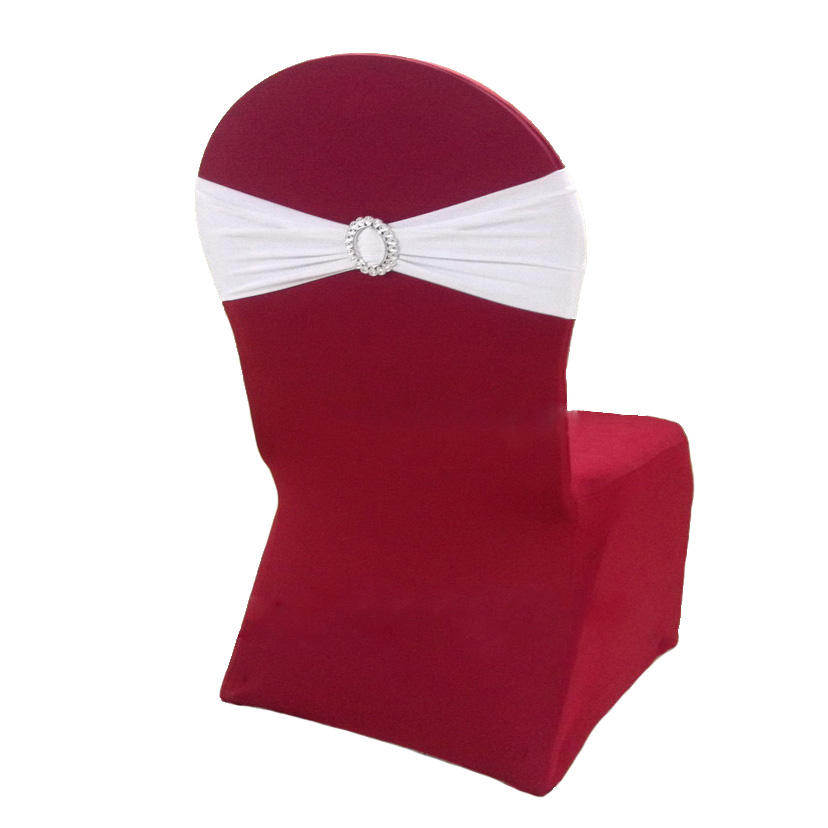 High Quality Lycra Chair Bands med Oval Spænde til Bryllupper Events Banket Hotel Decoration Spandex Stretch Chair Sashes Bow