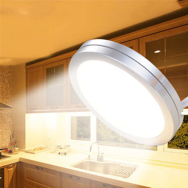 Us 8 43 32 Off Kaigelin 6 Pcs Under Cabinet Led Lighting 12v Furniture Wardrobe Round Rv Display Lights For Home Kitchen In