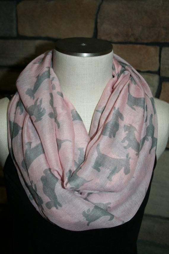 Scottie Dog Print Scarf Pink And Grey Scarf-Westie Dog Scarf-West Highland Terrier Scarf