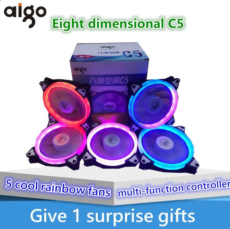 все цены на Aigo fan octave space C5 fan computer desktop fan iridescence RGB 12 cm aurora aperture water multimodal fan cooling онлайн