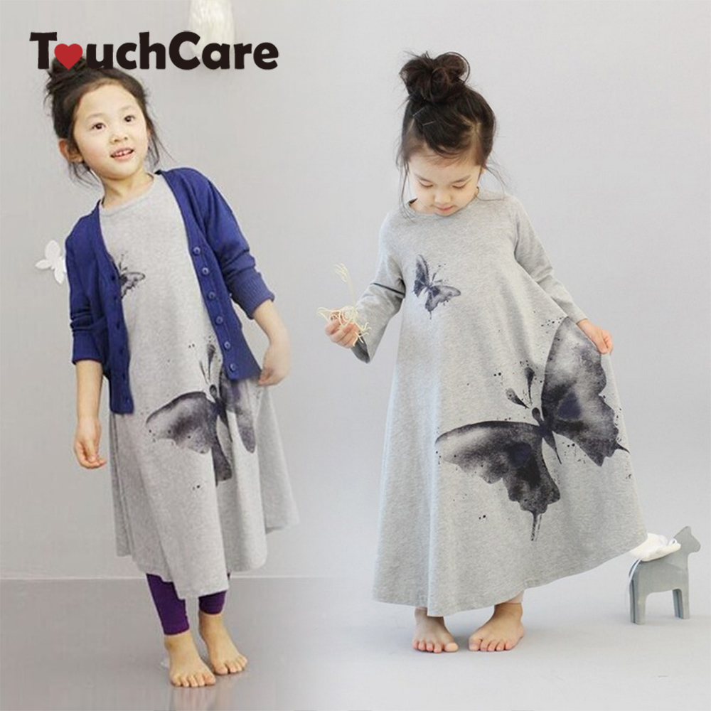 Clearance New Casual Baby Girl Dresses Girls Dress Butterfly Print Baby Dress Long Sleeve Kids Children Clothes Robe Bapteme