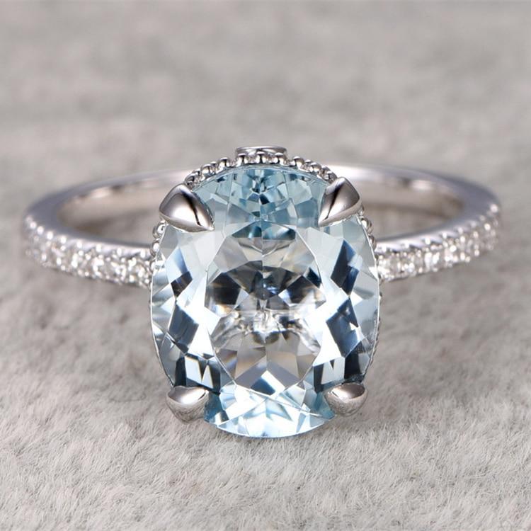 9x11mm Oval Big Aquamarine Ring!Filigree Art topaz Engagement ring White gold,Unique Design,Blue Stone Promise Ring,wedding
