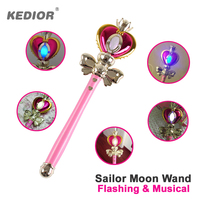 Heart Moon Rod Sailor Moon Stick Anime Cosplay Prop Toys for Girls Musical Magic Glow Wand VS Bandai